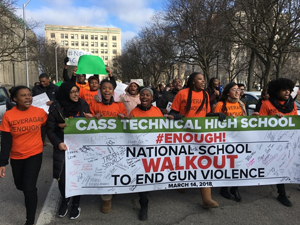 Cass High School students participate in the national #MarchForOurLives school walkout to protest against gun violence. - MIRIAM MARINI