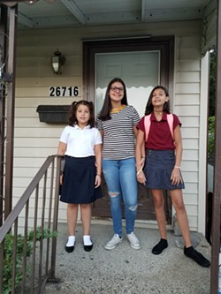 The Fleury sisters on the first day of school. - DOUG FLEURY