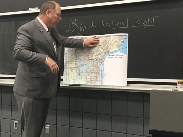 "Libertarian candidate Bill Gelineau unveils his ""Detroit 84"" plan. - LEE DEVITO"
