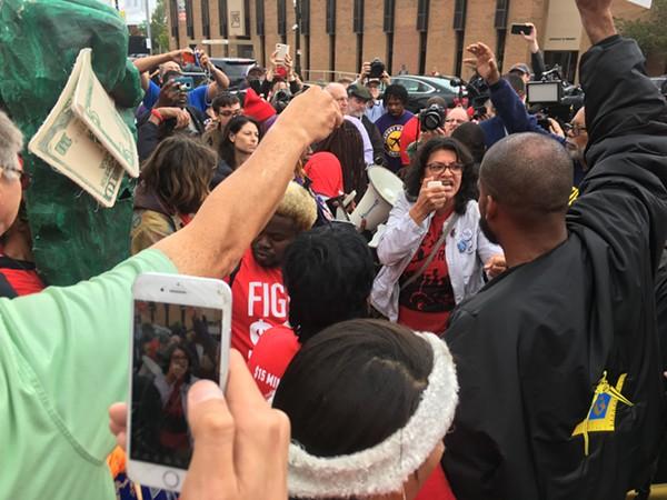 Rashida Tlaib addresses pro-labor demonstrators. - VIOLET IKONOMOVA