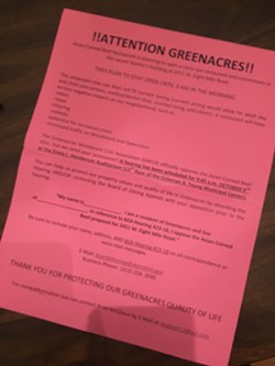 A leaflet distributed throughout Greenacres ahead of the Oct. 9 zoning hearing.