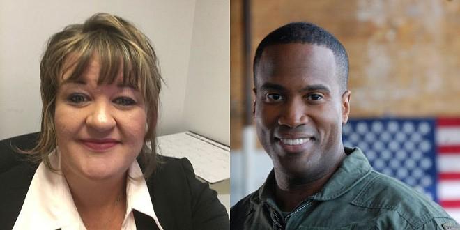 Left: Reporter Brenda Battel, former of the Huron Daily Tribune. Right: Former U.S. Senate candidate John James. - TWITTER