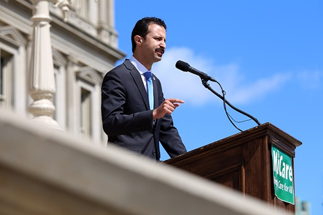 Rep. Yousef Rabhi (D-Ann Arbor) unveils his plan to provide universal health coverage for Michiganders. - COURTESY PHOTO