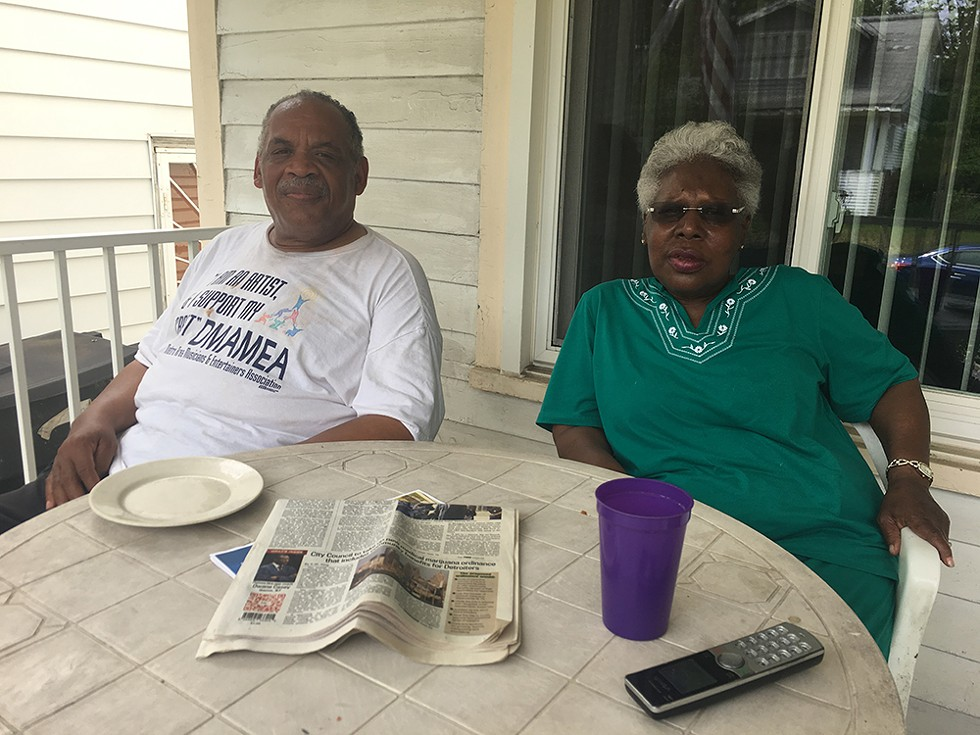 Barbara and Clifton Epps on their porch in Detroit's Fitzgerald neighbrohood. - VIOLET IKONOMOVA