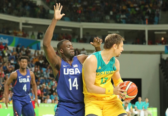 Former MSU basketball player and current Golden State Warrior Draymond Green playing defense against Australia during the 2016 Olympics. - LEONARD ZHUKOVSKY / SHUTTERSTOCK