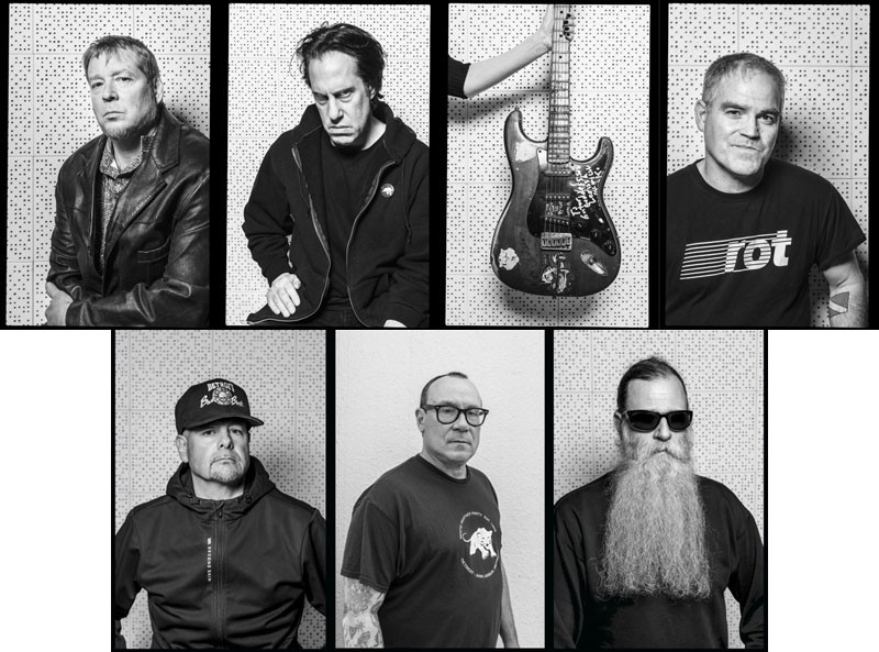 The Laughing Hyenas today. Top row, from left: Kevin Monroe, John Brannon, Larissa Stolarchuk's guitar, and Jim Kimball. Bottom row, from left: Mike Danner, Todd Swalla, and Ron Sakowski. - DOUG COOMBE