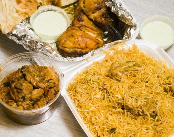 ( Clockwise from top) Tandoori chicken, biryani, and chicken karahi. - TOM PERKINS