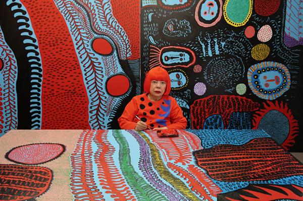 Portrait of Yayoi Kusama in her studio. - COURTESY OF DAVID ZWIMER, NEW YORK; OTA FINE ARTS, TOKYO/SINGAPORE/SHANGHAI