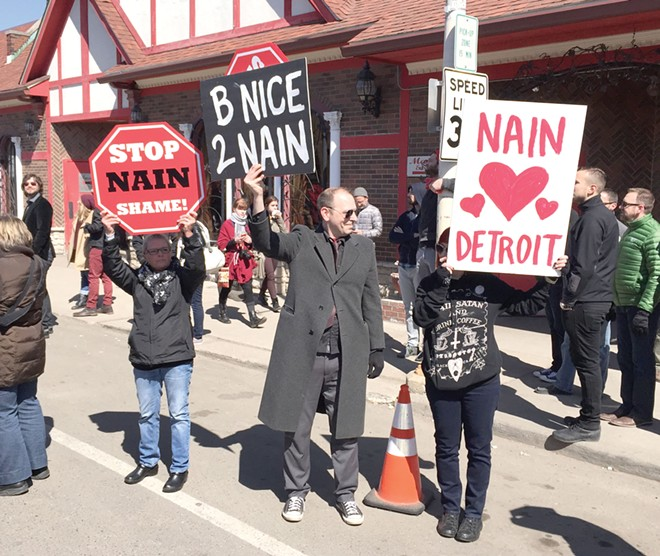 """John Tenney protests the Marche du Nain Rouge. - JIM """"DOKTOR LEECH,"""" DAILYNIGHTMARE.COM"""