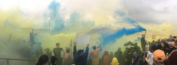 Inside Detroit City FC supporter section. - FARRIS KHAN