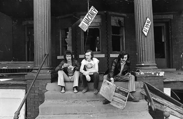 Barry Kramer, Dave Marsh, and Lester Bangs outside Creem's Cass Corridor offices, circa 1969. - CHARLIE AURINGER