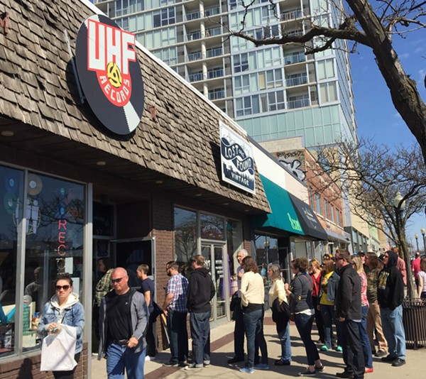 A line forms outside of UHF Records in Royal Oak during Record Store Day 2016. - ANTHONY SPAK