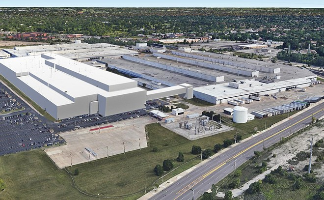 Rendering of the proposed Fiat Chrysler Automobiles assembly plant. - CITY OF DETROIT