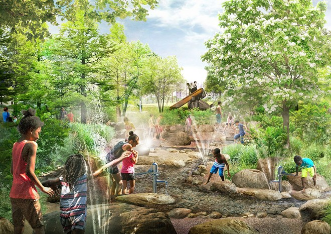 Rendering of the animal-themed playground. - MICHAEL VAN VALKENBURGH ASSOCIATES