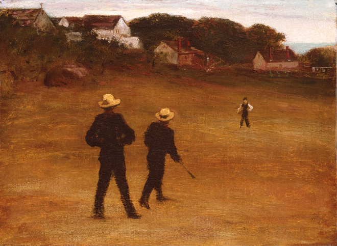 """""""The Ball Players,"""" 1871, William Morris Hunt, American; oil on canvas. - COURTESY OF THE DETROIT INSTITUTE OF ARTS"""