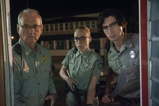 Bill Murray as Officer Cliff Robertson, Chloë Sevigny as Officer Minerva Morrison, and Adam Driver as Officer Ronald Peterson in writer-director Jim Jarmusch's The Dead Don't Die. - ABBOT GENSER / FOCUS FEATURES