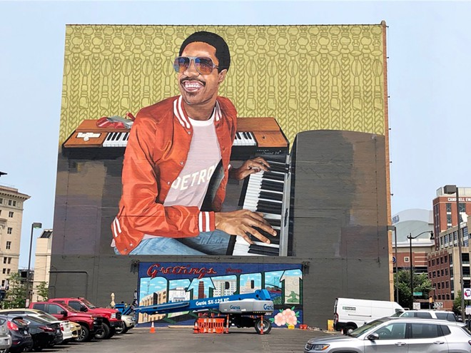 Music Hall's Stevie Wonder mural, photographed on Monday. - STEVE NEAVLING