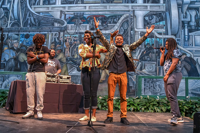 Youth perform at an MC Olympics competition at the Detroit Institute of Arts. - PHOTO BY DOUG COOMBE, COURTESY OF INSIDEOUT LITERARY ARTS