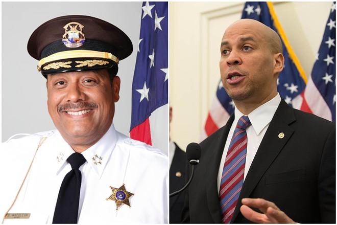 Sheriff Benny Napoleon (left) and presidential candidate Cory Booker. - WAYNE COUNTY/U.S. SENATE