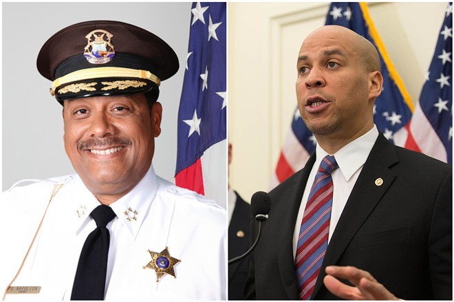 Sheriff Benny Napoleon (left) and presidential candidate Cory Booker. - WAYNE COUNTY/U.S. SENATE