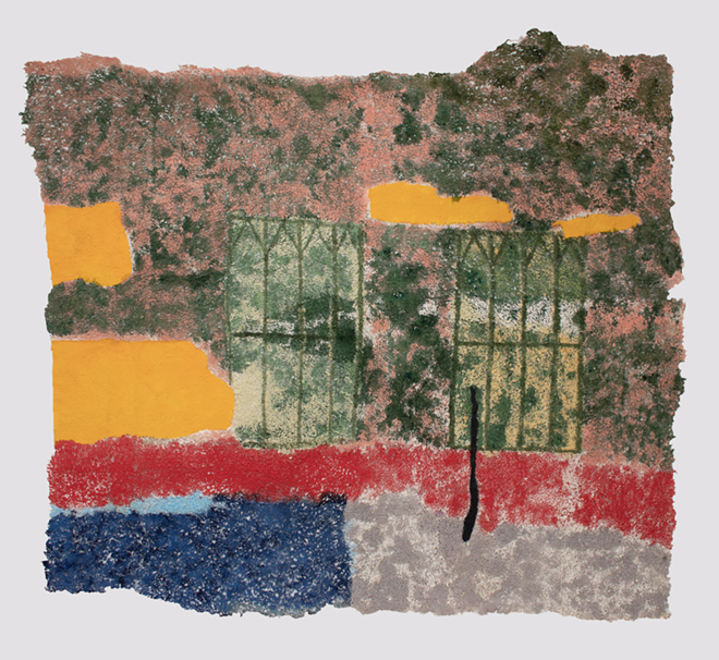 I can see through this 2018 Japanese handmade paper, acrylic paint, and thread, 52 x 74.5 inches. - COURTESY OF SIMONE DESOUSA GALLERY