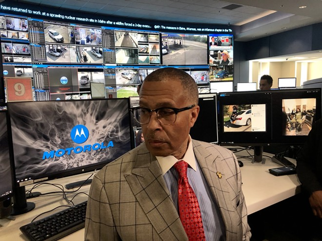 DPD Chief James Craig inside the city's surveillance room at police headquarters. - STEVE NEAVLING