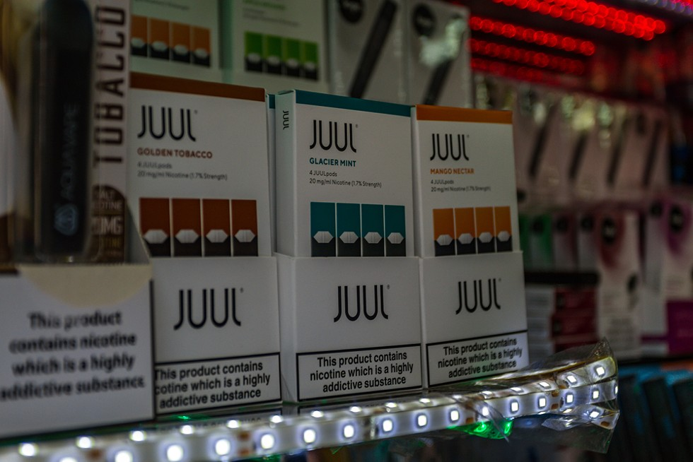 Flavored Juul e-cigarette liquid for sale. - EYESONMILAN/SHUTTERSTOCK