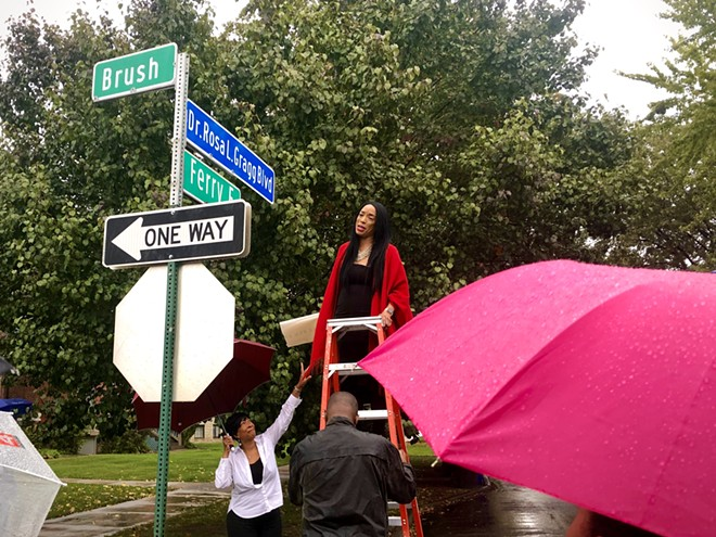 The new sign was unveiled by the granddaughter of Gragg, Lauren A. Gragg, who traveled from Palm Beach, Florida, to present this special commemoration of her grandmother. - LINDSEY YUCHA