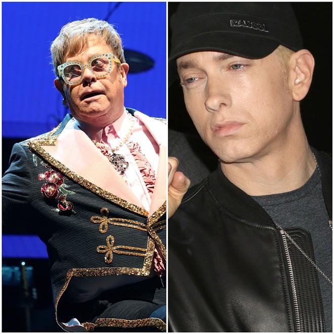 Elton John and 'old cunt' bestie Eminem. - J.STONE/SHUTTERSTOCK