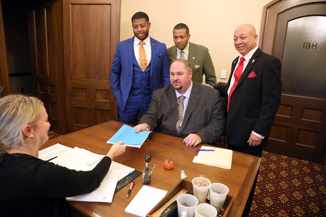 Reps. Isaac Robinson (front), Jewell Jones (left), Tyrone Carter (center), and Sheldon Neeley. - REP. ISAAC ROBINSON