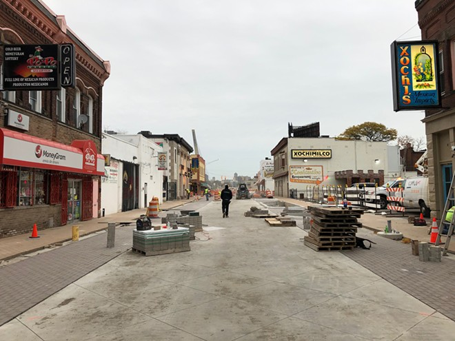 Recent construction on Mexicantown's streetscape project. - LEE DEVITO