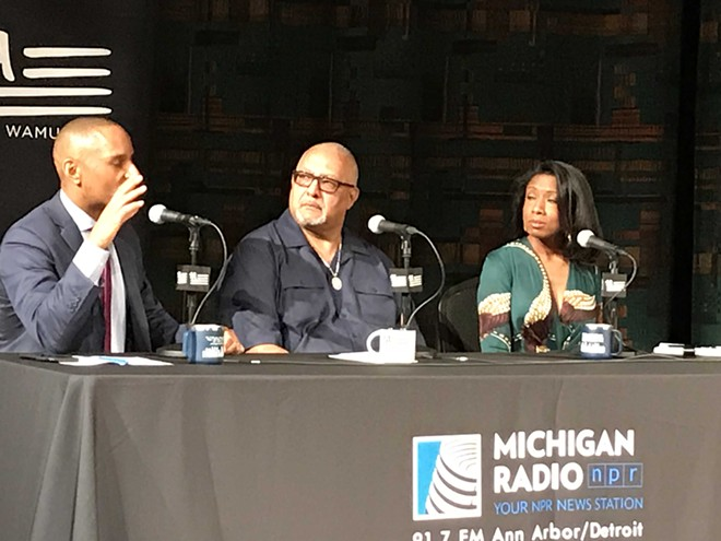 Rev. Horace Sheffield III, center, at a recent panel in Detroit. - LARRY GABRIEL