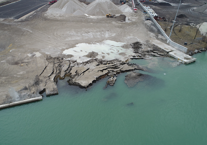 Drone photos of the collapse. - MICHIGAN DEPARTMENT OF ENVIRONMENT, GREAT LAKES AND ENERGY
