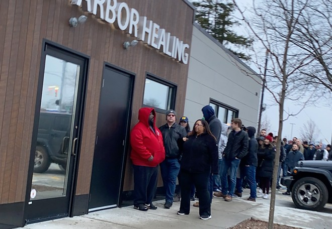 People lined up to buy recreational cannabis at Ann Arbor Healing, one of the first stores to be granted a license to sell. - COURTESY OF ANN ARBOR HEALING