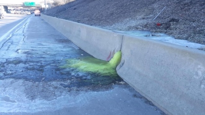 Green liquid oozing from retaining wall along I-696. - MICHIGAN DEPARTMENT OF TRANSPORTATION