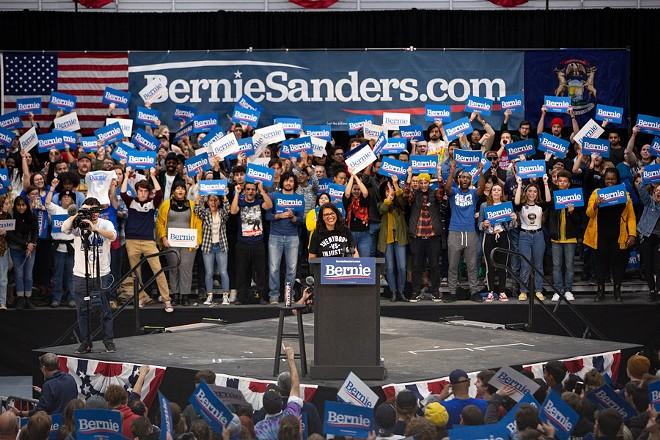 U.S. Rep. Rashida Tlaib speaks at a Detroit rally for 2020 Democratic candidate Bernie Sanders. - ERIK PAUL HOWARD