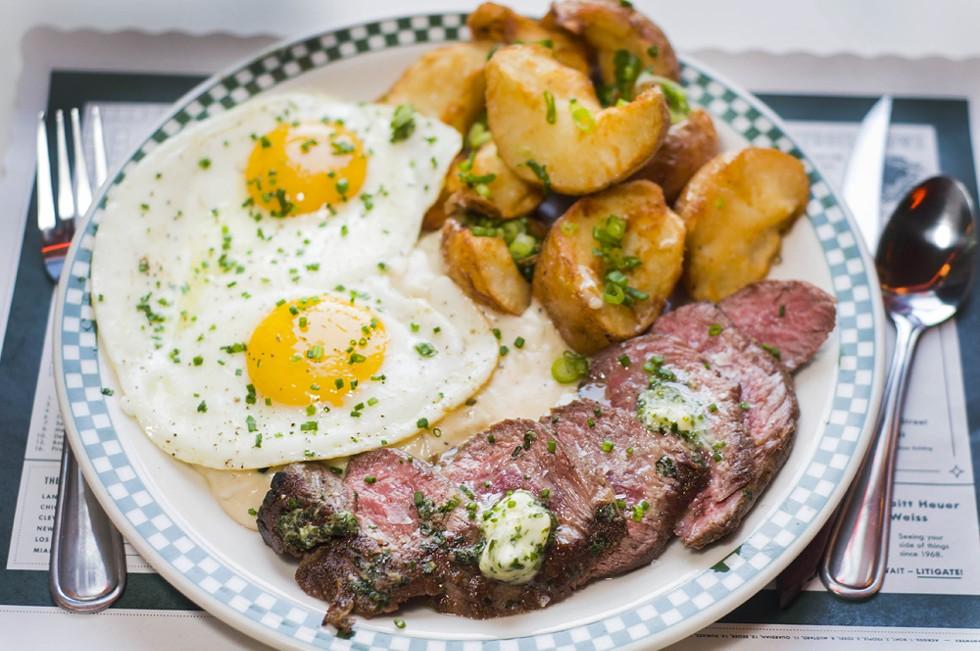 Steak and eggs. - TOM PERKINS