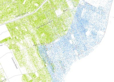 Here's a view of Detroit's borders with the Grosse Pointe's, showing racial segregation as stark as along any border. - DETAIL OF THE RACIAL DOT MAP