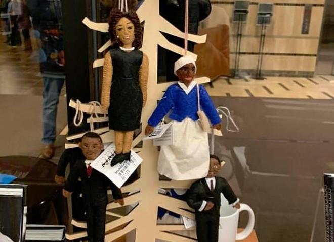 Display of Black dolls hanging from a tree at Michigan State University. - KRYSTAL ROSE DAVIS-DUNN VIA FACEBOOK