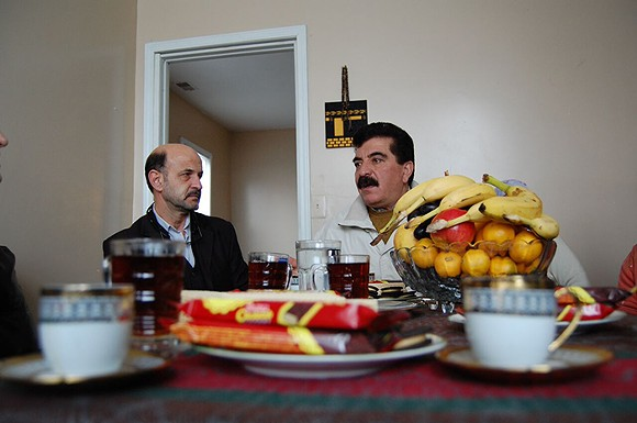 Samir Alrashdan, right, and landlord Bashar Imam in Hamtramck. - DON JORDAN