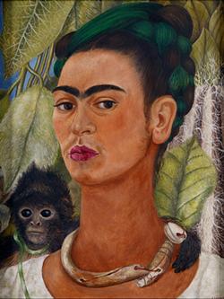"""""""Self-Portrait with Monkey,"""" 1938, Frida Kahlo. - COURTESY OF DIA"""