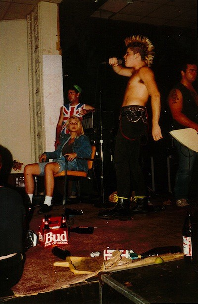 """Rawn Beauty onstage with Cold As Life at what appears to be Graystone Hall in the 1980s. - PHOTO COURTESY MIKE """"THE GOOK"""" COULS, COLD AS LIFE"""