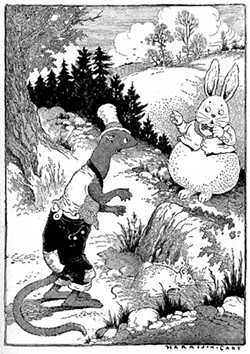 """""""One day Mr. Rabbit surprised Mr. Weasel making a meal of young mice."""" - ILLUSTRATION BY HARRISON CADY"""