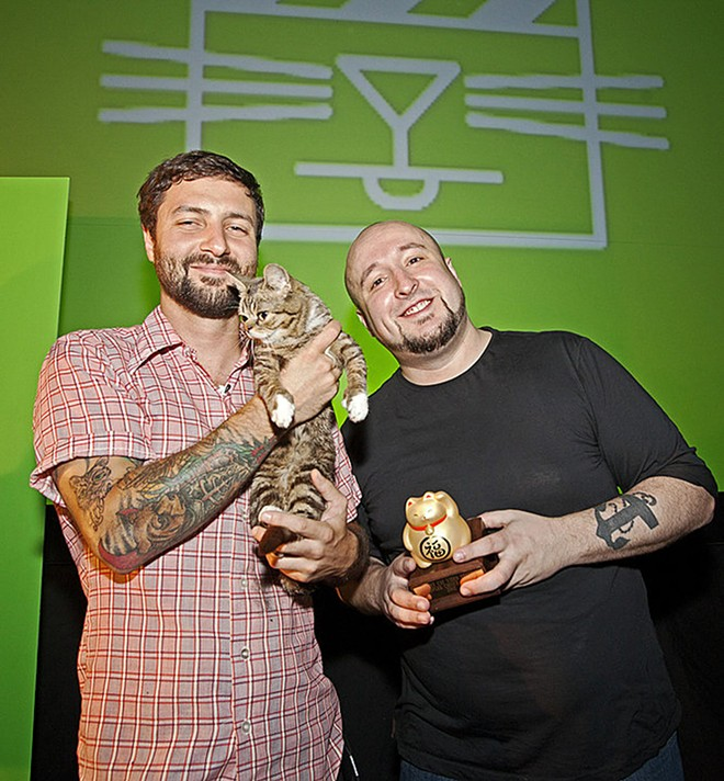 Will Braden with Mike Bridavsky and the late Lil Bub, 2012. - COURTESY PHOTO