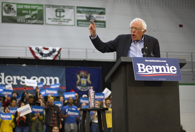 Bernie Sanders speaking at Cass Tech High School in October. - STEVE NEAVLING