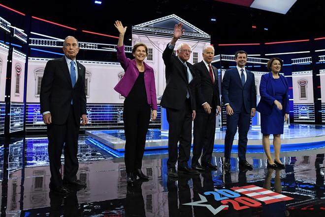 Mike Bloomberg, Sen. Elizabeth Warren, Sen. Bernie Sanders, former Vice President Joe Biden, Mayor Pete Buttigieg, and Sen. Amy Klobuchar at a recent debate. - SHUTTERSTOCK