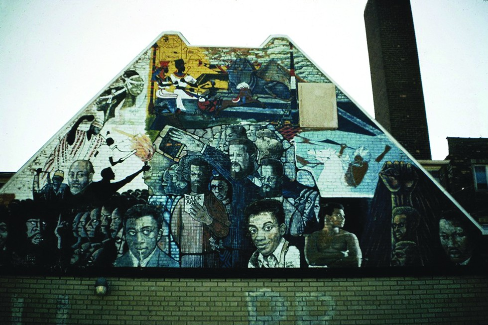 Wall of Pride, Grace Episcopal Church, 12th Street (Rosa Parks Bloulevard) and Virginia Park Street, Bill Walker, Eugene Eda, eight Detroit artists. - THE TIMOTHY DRESCHER COMMUNITY MURALS COLLECTION (MARK ROGOVIN)