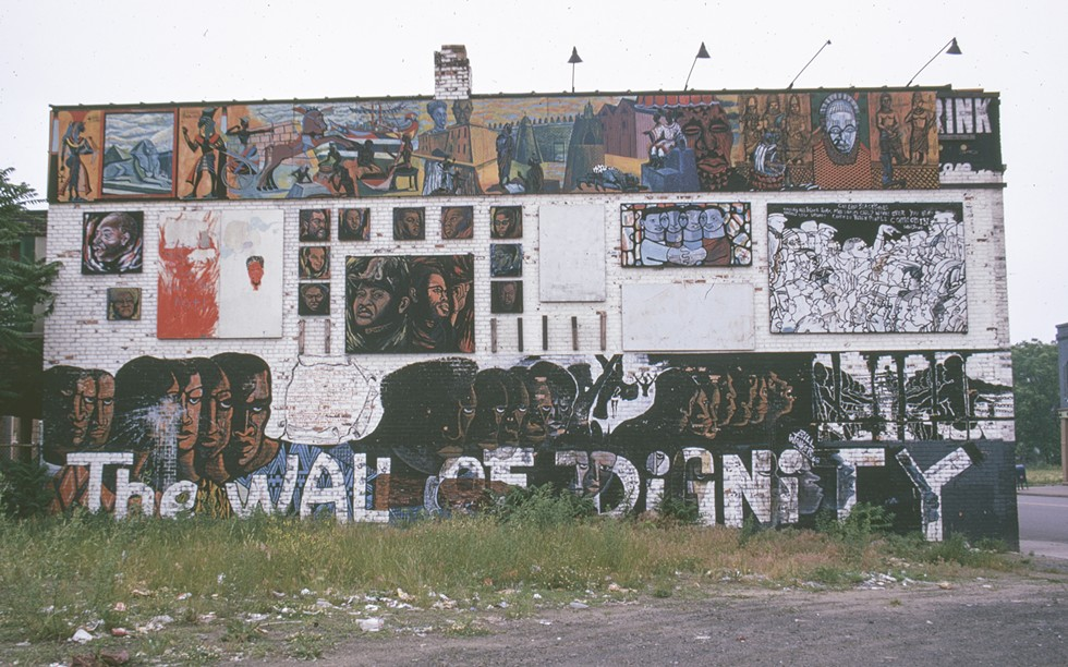 "Wall of Dignity, Fairview Gardens, Mack Avenue and Fairview Street, Bill Walker, Eugene ""Eda"" Wade, Edward Christmas, Al Saladin Redmand, others. (As it looked circa 1973.) - THE TIMOTHY DRESCHER COMMUNITY MURALS COLLECTION (ROBERT SOMER)"