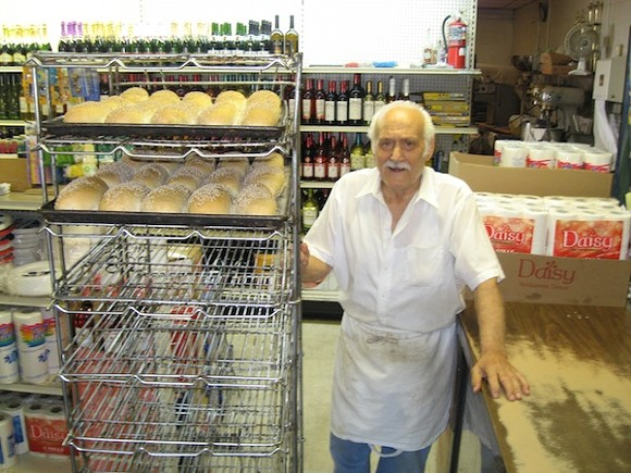 Vince Cucci baking morning bread on his 86th birthday a few years ago.