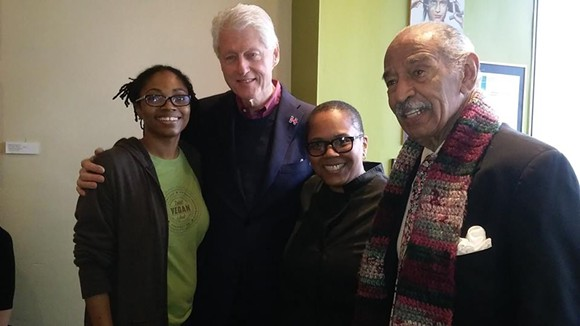 Clinton and Congressman John Conyers stop in at Detroit Vegan Soul. - DETROIT VEGAN SOUL/FACEBOOK
